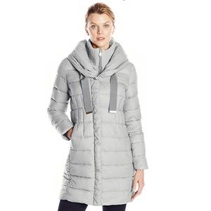Tahari Graphite Package Parka with Gold Details